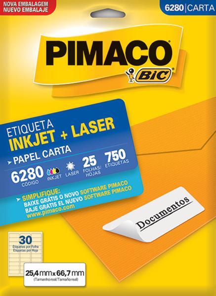 Etiqueta Inkjet/Laser Pimaco 6280 - 25,4 mm x 66,7 mm
