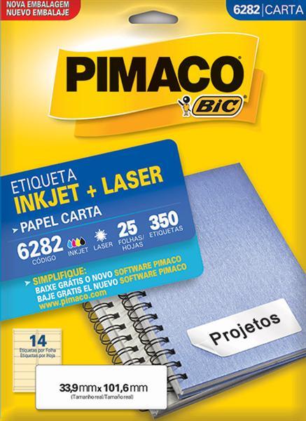 Etiqueta Inkjet/Laser Pimaco 6282 - 33,9 mm x 101,6 mm