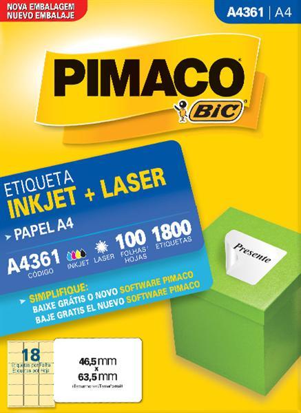 Etiqueta Inkjet/Laser Pimaco A4361 - 46,5 mm x 63,5 mm