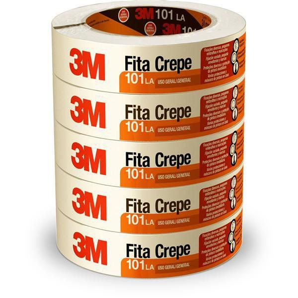 Fita Crepe 3M - 24 mm x 50 m PACK COM 5 UNIDADES