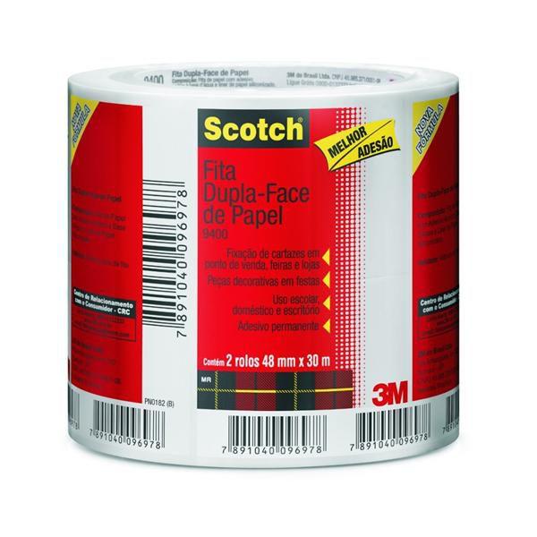 Fita Dupla Face 3M Scotch 48 mm x 30 m - PACK COM 2 UN.