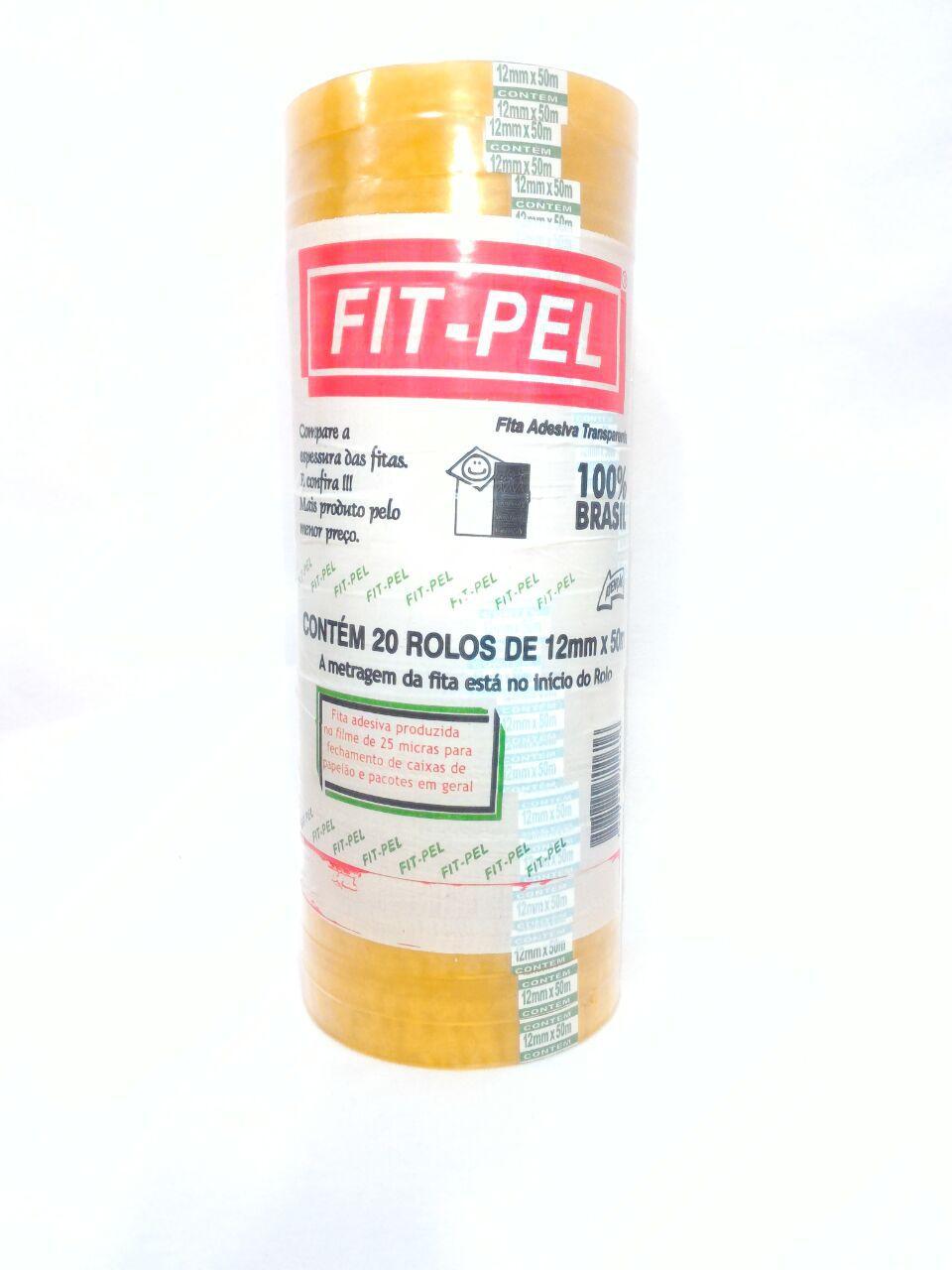 Fita Durex Fit-Pel - 12 mm x 50 m - PACK COM 20 UNIDADES