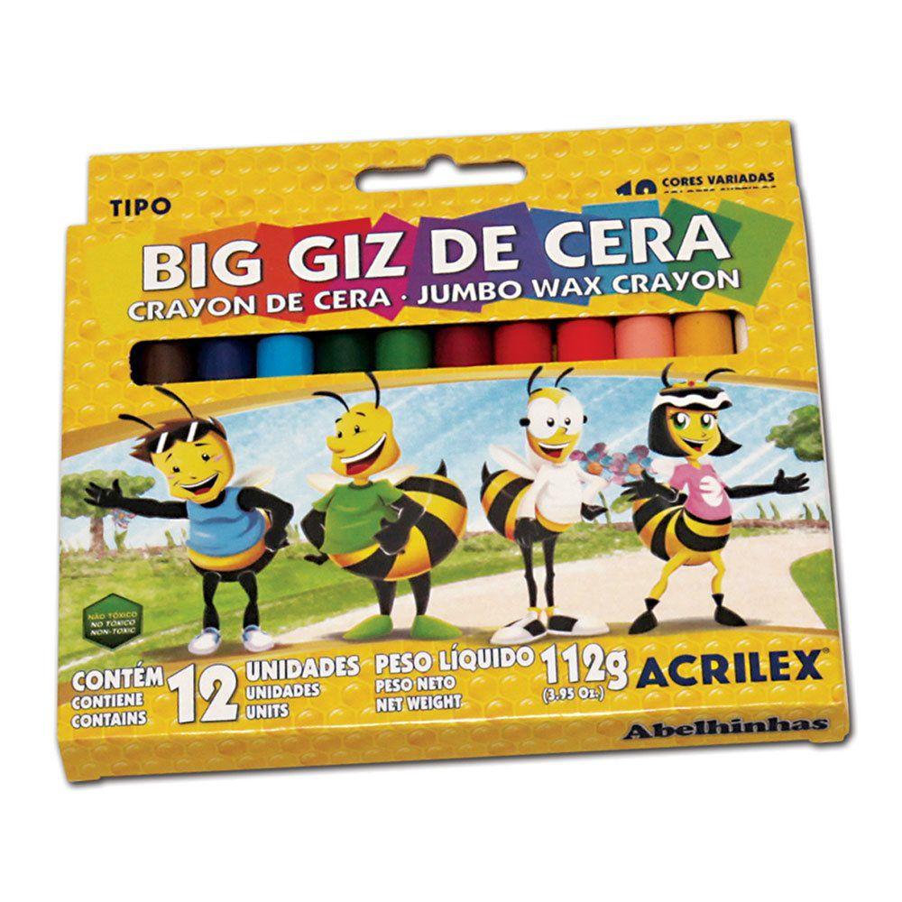 Giz de Cera Big Acrilex c/ 12 cores 09111