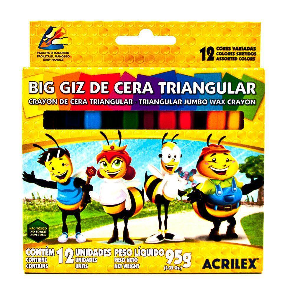 Giz de Cera Big Triangular Acrilex c/ 12 cores 09312