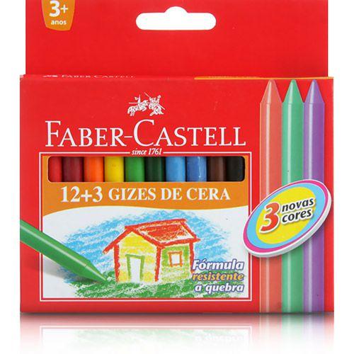 Giz de Cera Faber-Castell c/ 12 + 3 cores HT141015