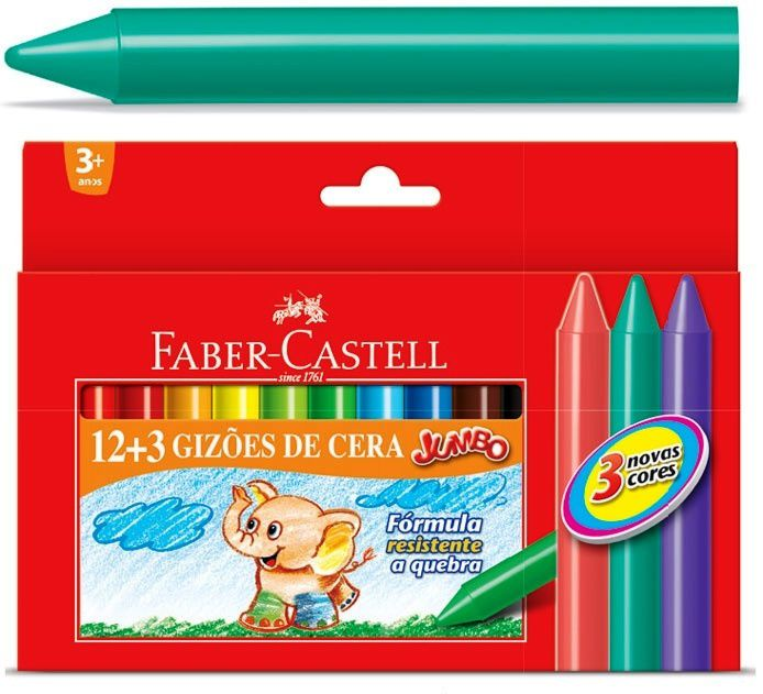 Giz de Cera Faber-Castell Jumbo c/ 12 + 3 cores HT141115