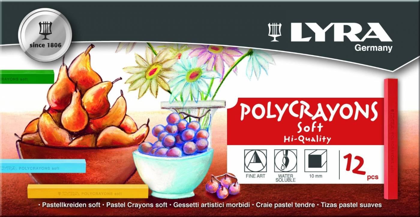 Giz Pastel Seco Lyra Polycrayons Soft 12 Cores