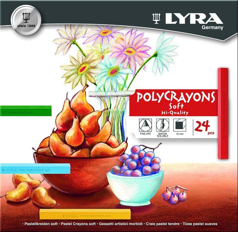 Giz Pastel Seco Lyra Polycrayons Soft 24 Cores
