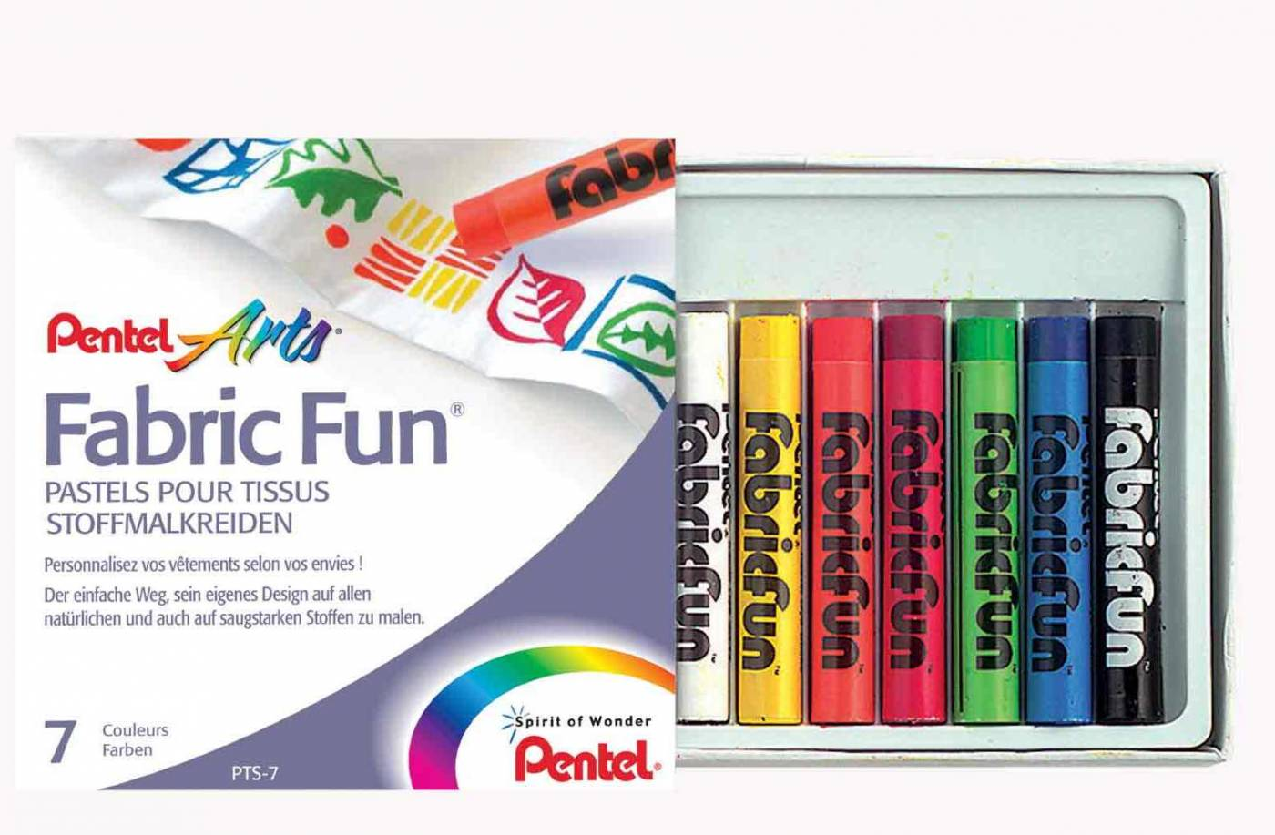 Giz Pastel Seco Pentel Fabric Fun 7 Cores PTS-7