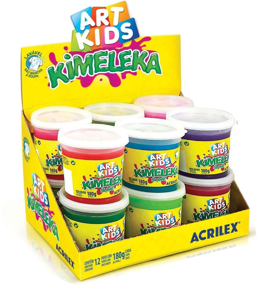 Kimeleka Slime Acrilex caixa c/ 12 - Cores Sortidas