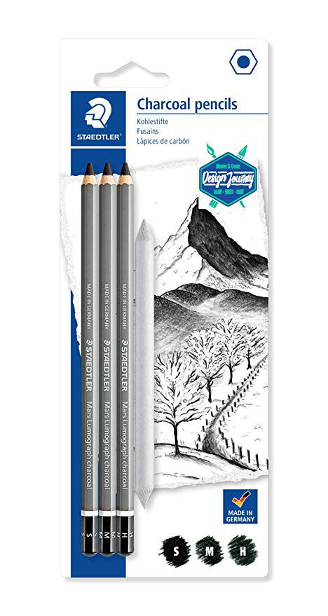 Kit Lápis Carvão Staedtler Charcoal + Esfuminho