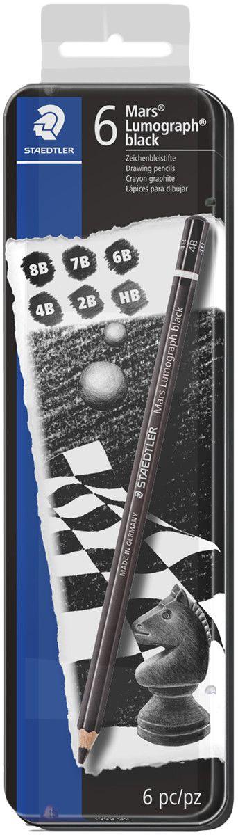Kit STAEDTLER Mars® Lumograph Black Com 6 Lápis - 100B G6