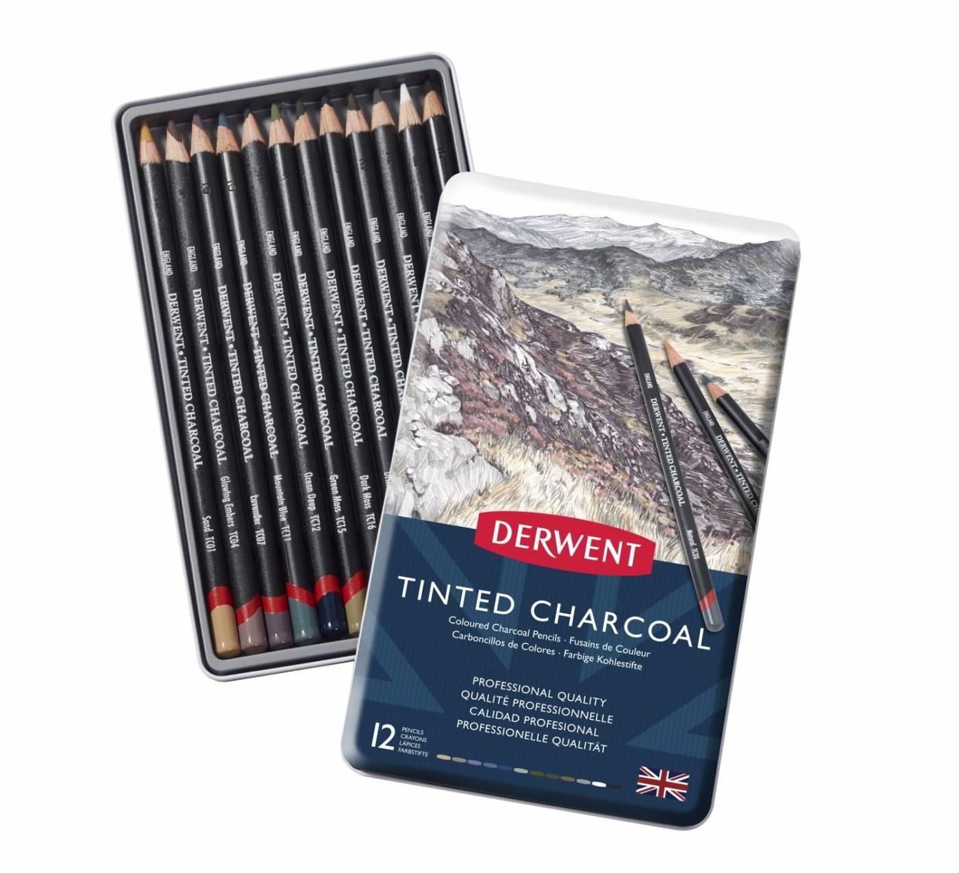 Lápis Carvão Colorido Derwent 12 cores - Tinted Charcoal