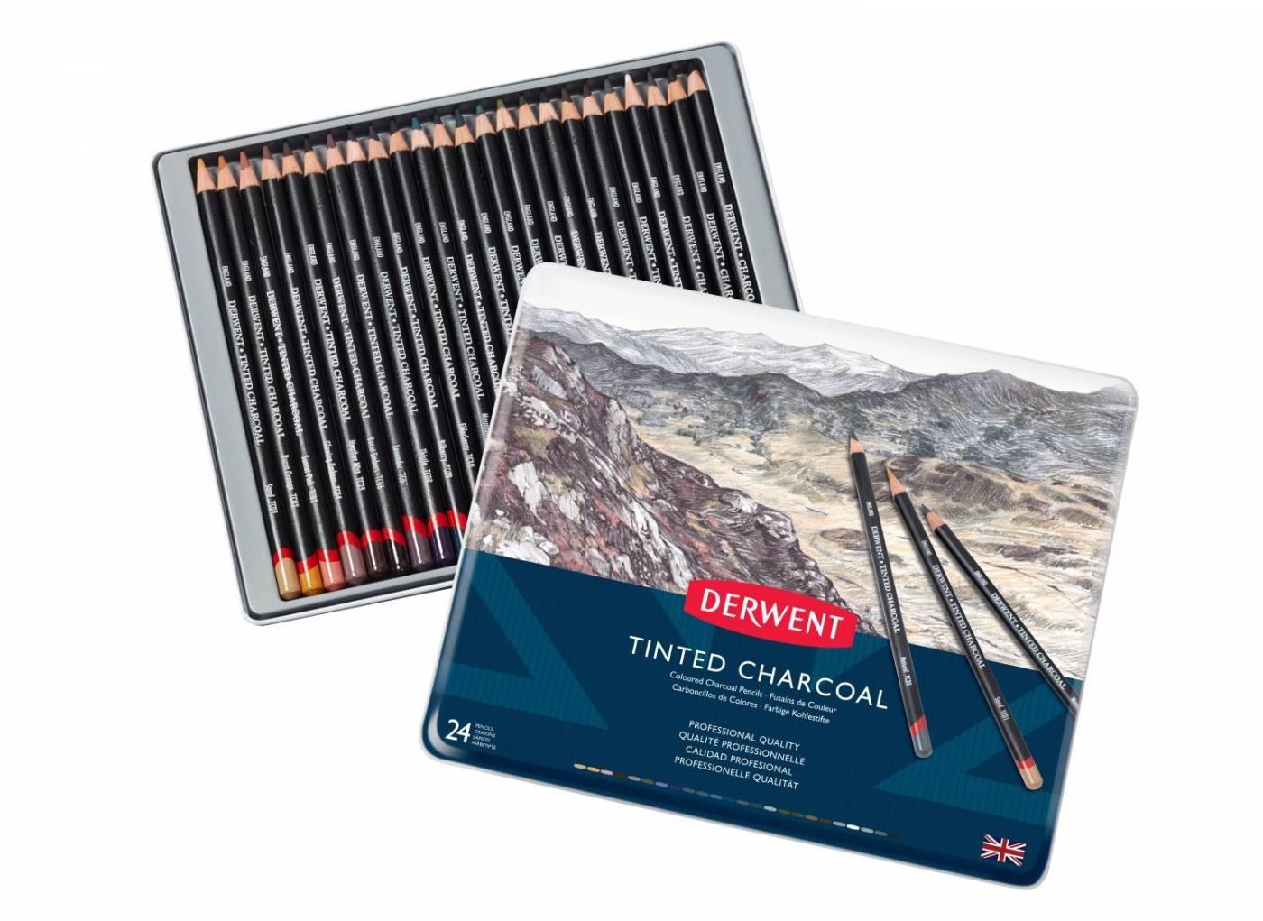 Lápis Carvão Colorido Derwent 24 Cores - Tinted Charcoal