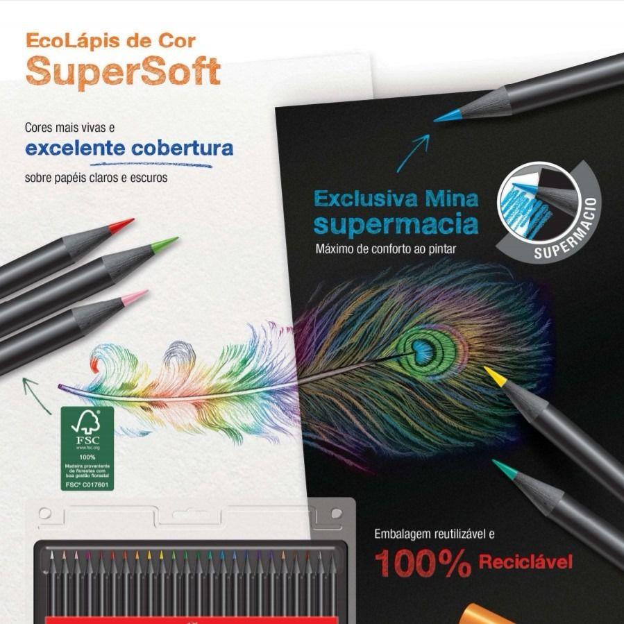 Lápis De Cor Faber Castell 24 Cores Super Soft