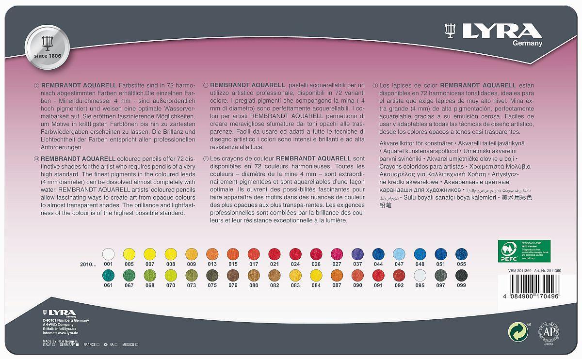 Lapis de cor Lyra Rembrandt Aquarell caixa c/36 cores