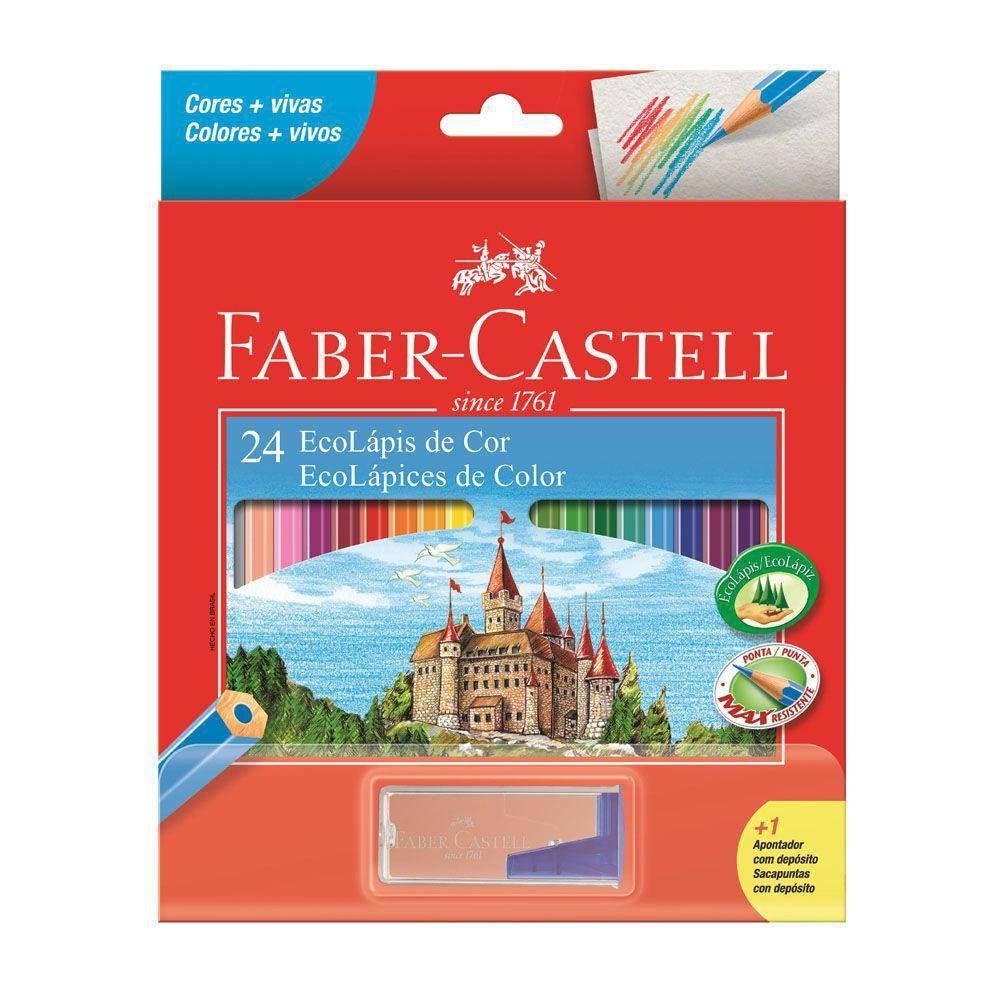 Lapis Faber-Castell Sextavado 24 EcoLápis de Cor 120124+1APT