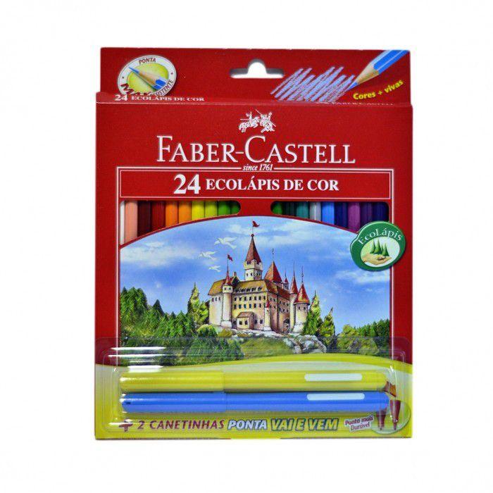 Lapis Faber-Castell Sextavado 24 EcoLápis de Cor 120124+2VV