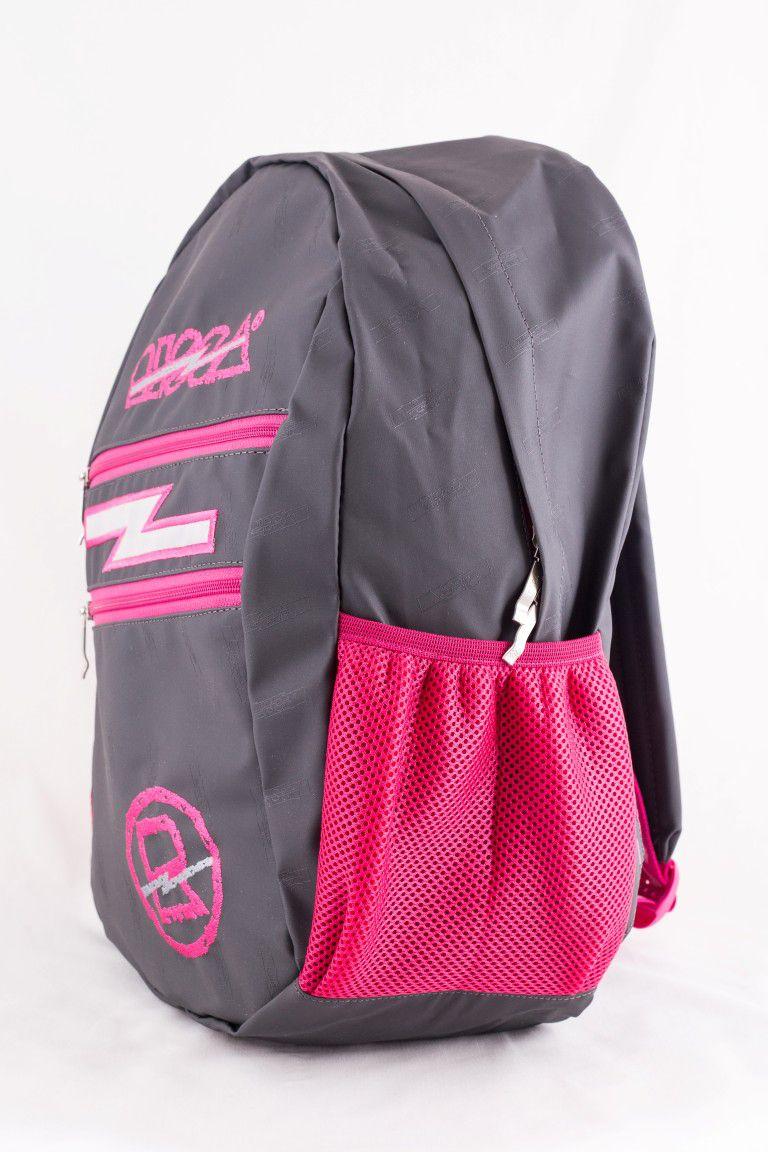 Mochila Risca Emborrachada Chumbo com Pink 9061