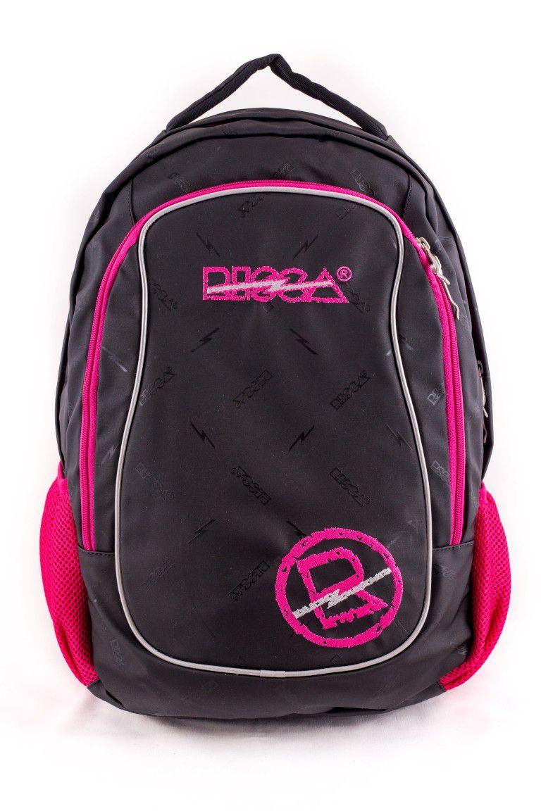 Mochila Risca Emborrachada Preto/Pink 9057