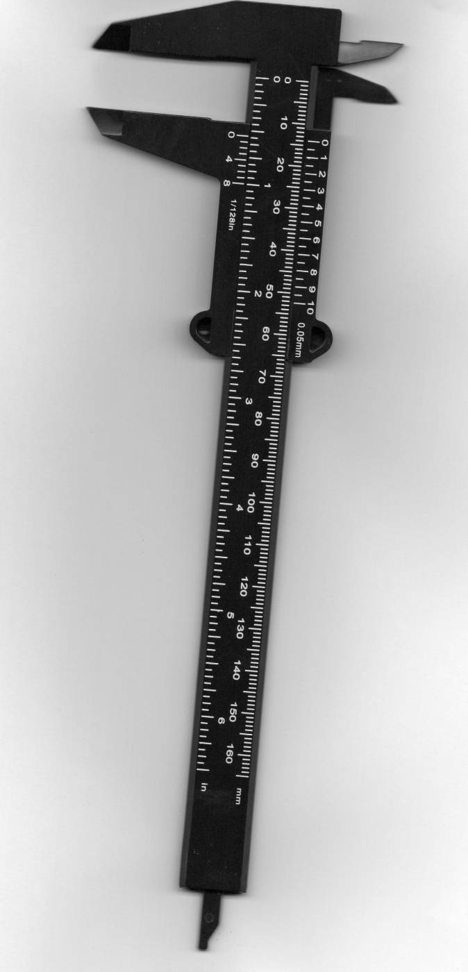 Paquímetro Plástico Preto 6,5 polegadas