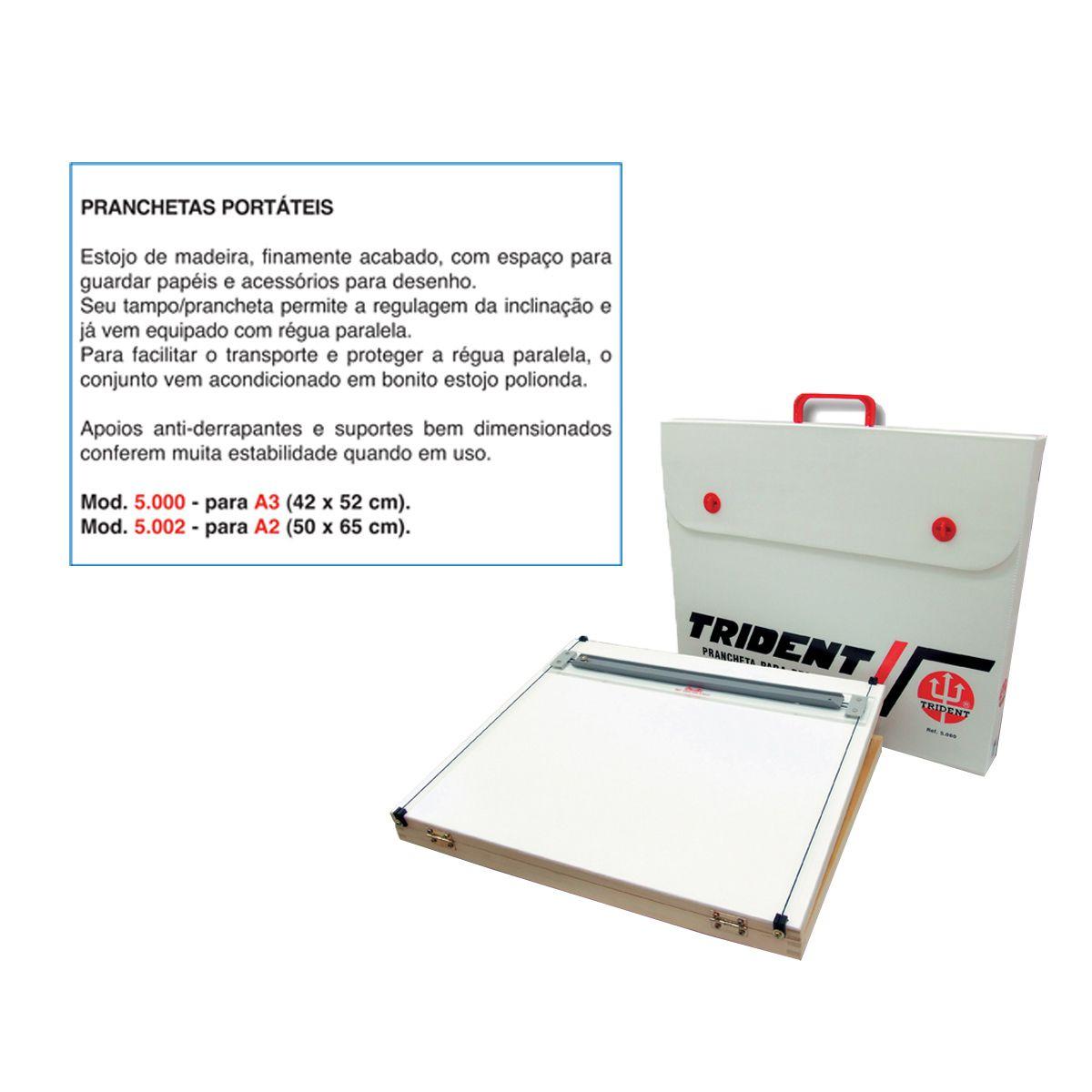 Prancheta Portátil Trident c/ Régua Paralela A2 5002