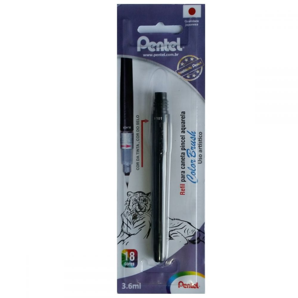 Refil Caneta Pentel Color Brush - Preto