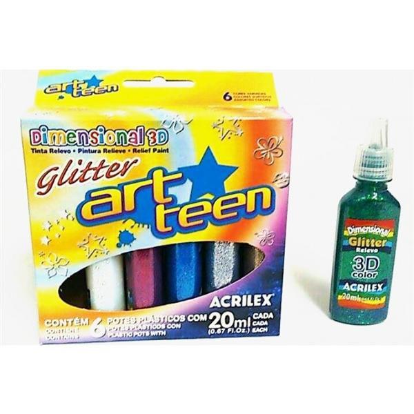 Tinta Dimensional 3D Glitter Acrilex c/ 6 cores 12206