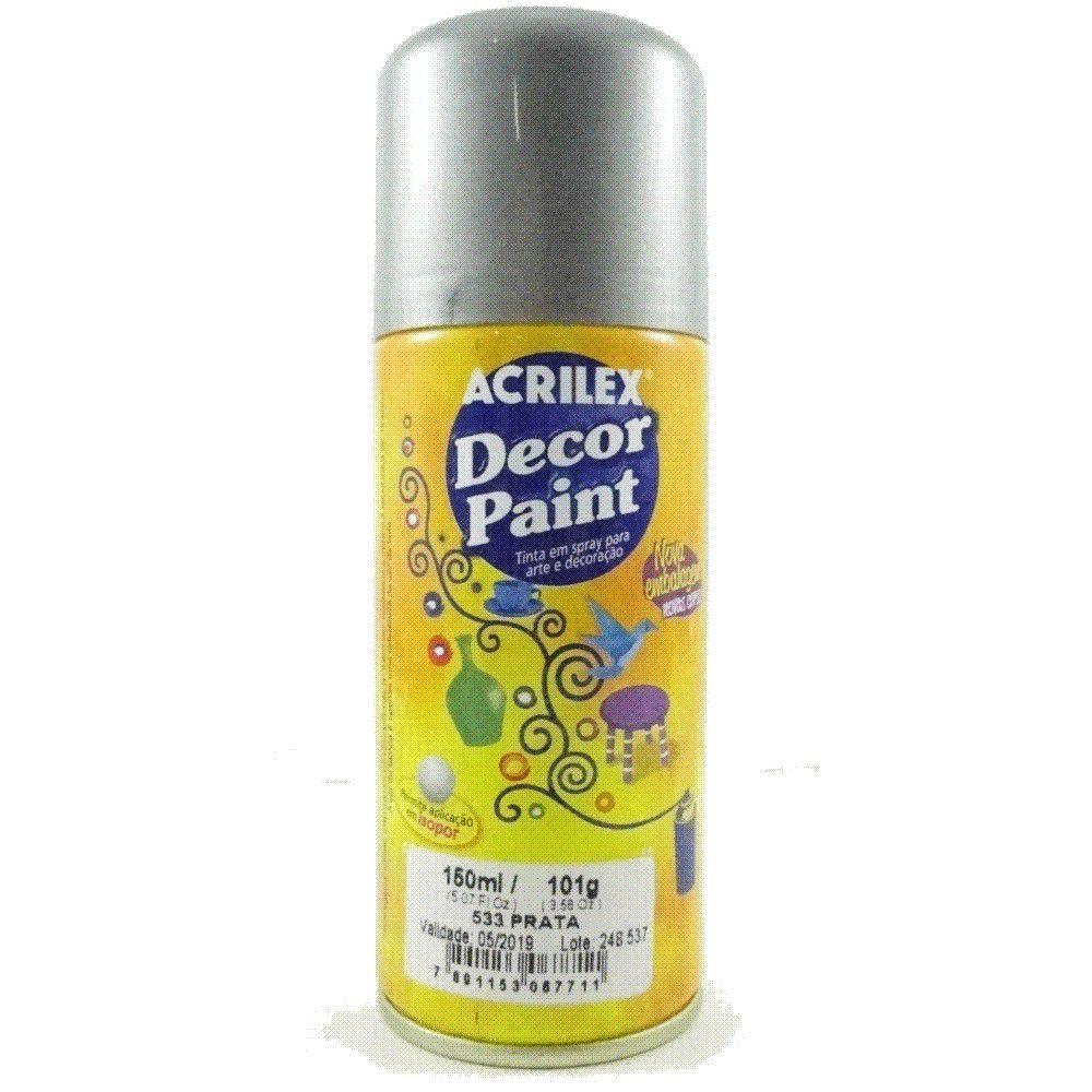 Tinta em Spray Decor Acrilex 150 ml  - Prata