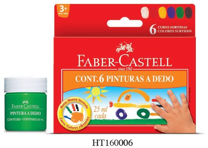 Tinta Faber-Castell Pintura a Dedo 6 Cores HT160006
