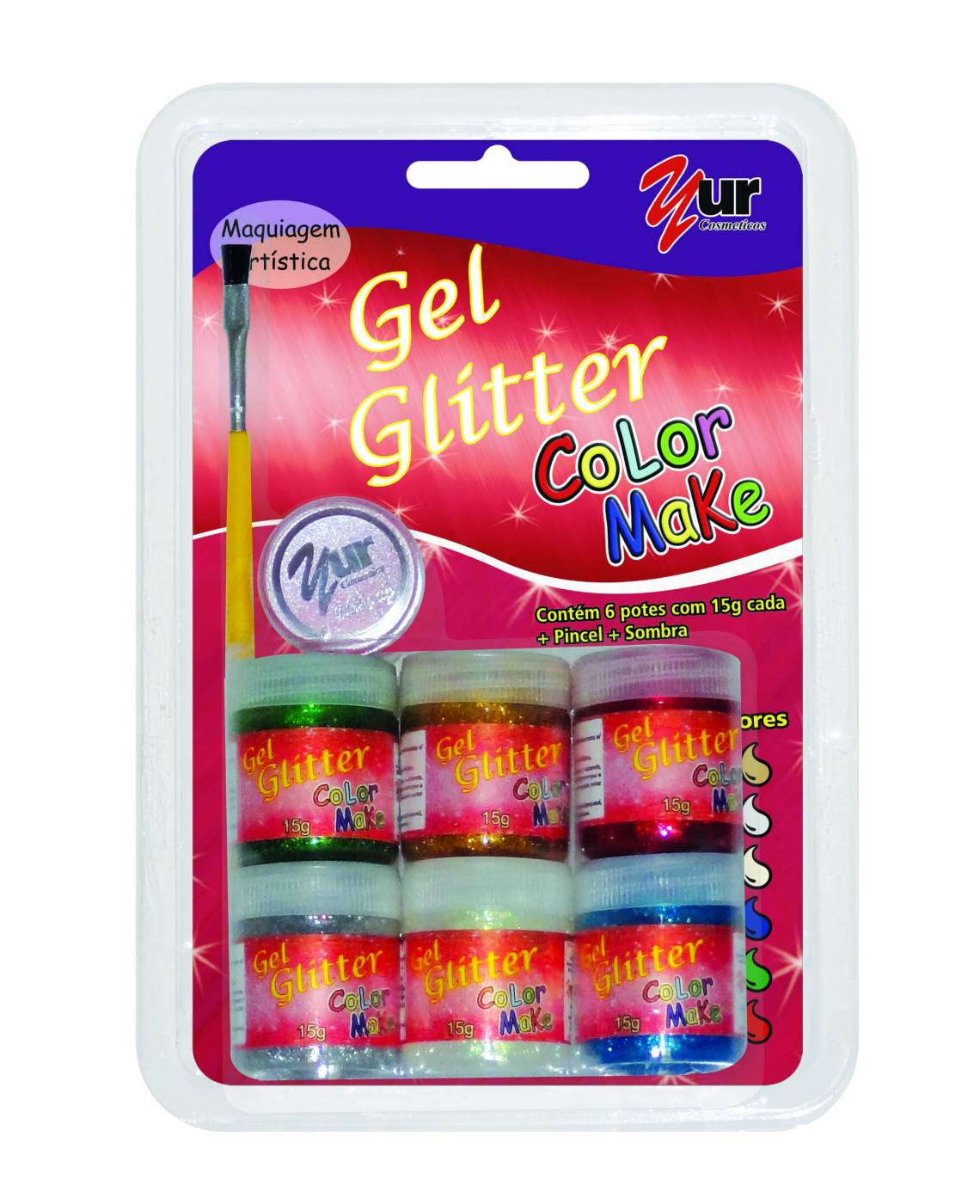 Tinta Facial Color Make Yur Gel Glitter c/ 6 cores