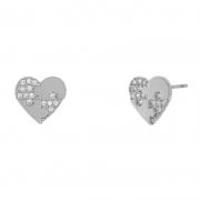 Brinco chapinha de coração com aplicação de zircônia cristal