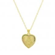 Colar com pingente em formato de coração de nossa senhora e zircônias colorida.
