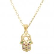 colar com pingente Mão de Fátima e detalhe da Estrela de Davi vazado, cravejado em zircônia colorido