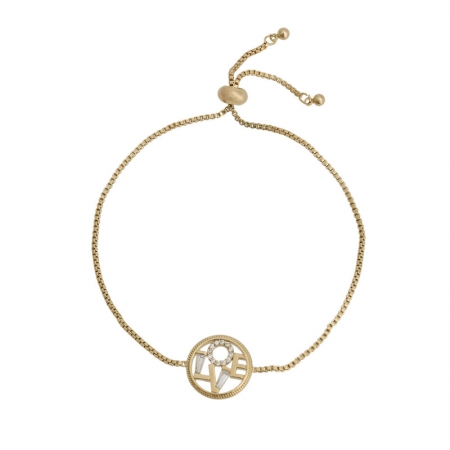 Pulseira ajustável com pingente círculo vazado LOVE cravejado com zircônia.