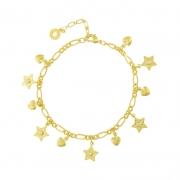Pulseira com corrente de elos e pingente de coração e estrela com aplicação de zircônia cristal.