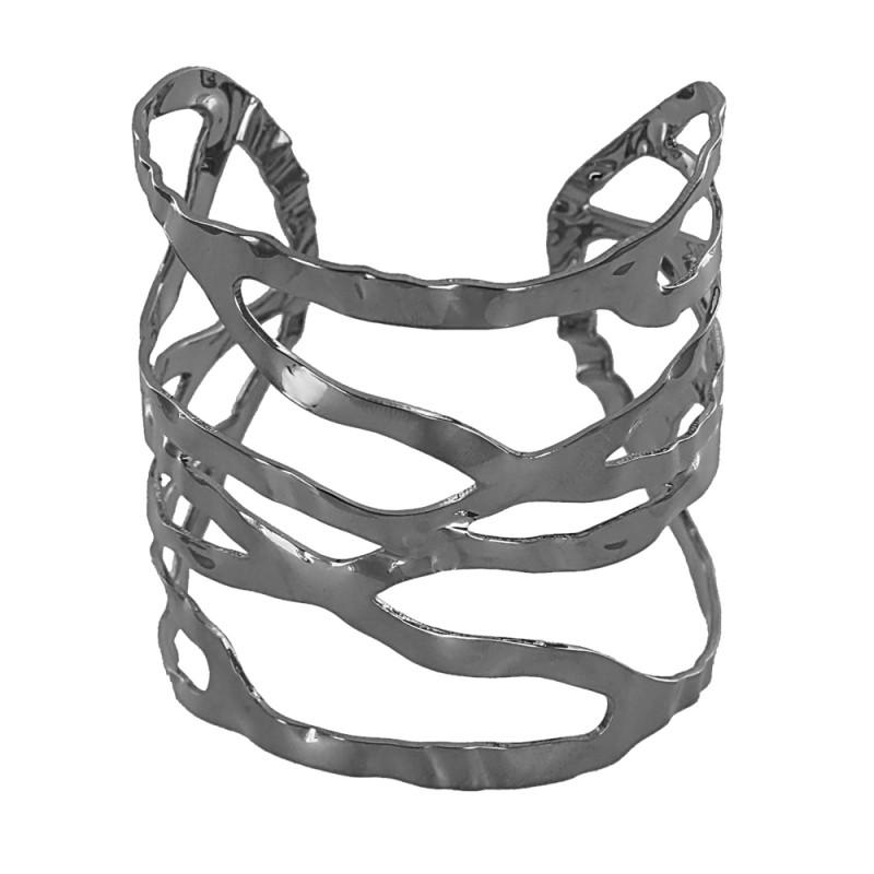Bracelete vazado texturizado com formas amassadas