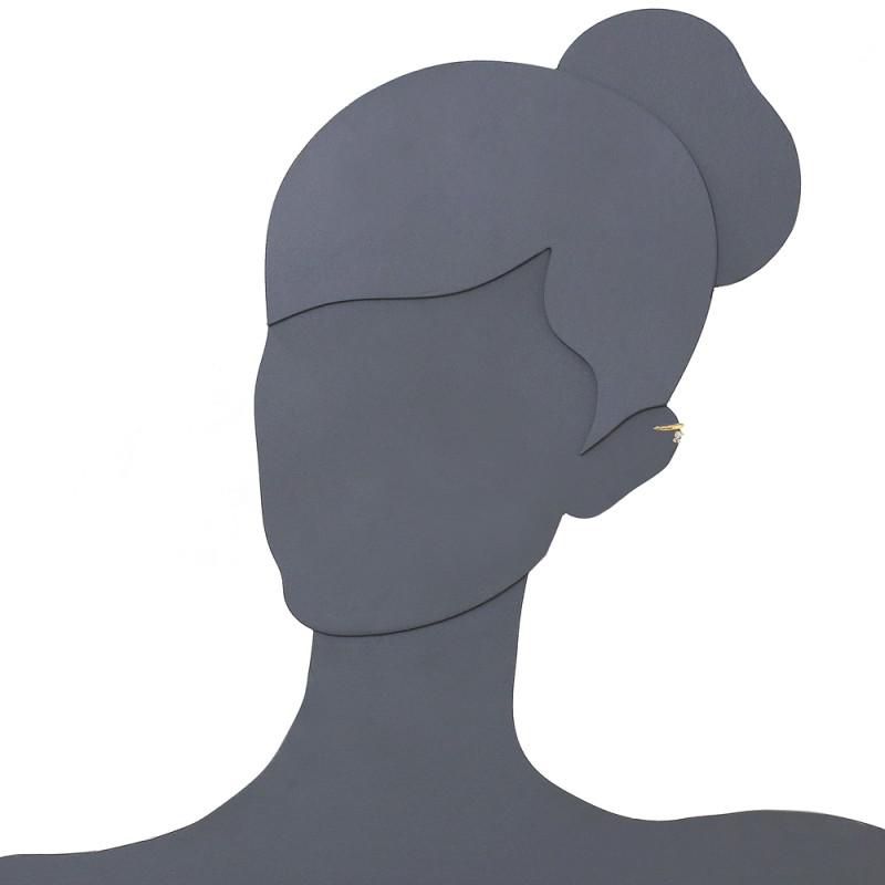 Brinco Ear-Cuff de Zirconia Redonda.