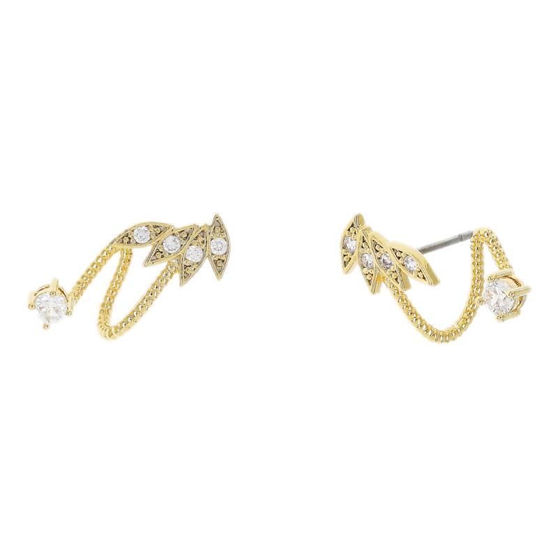 Brinco Ear Hook, com folhas cravejado em zircônia cristal e zircônia redonda.