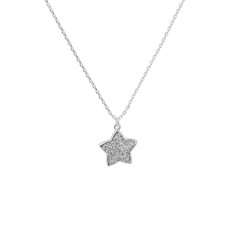 Colar com pingente de estrela cravejado em zircônia.