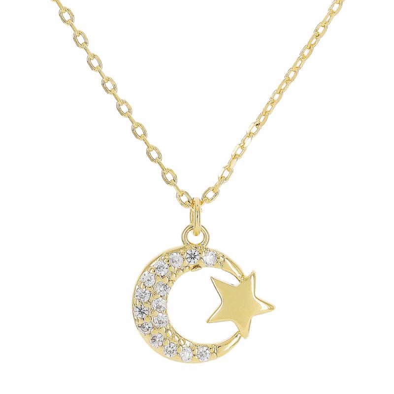 Colar com pingente de lua crescente cravejado com zircônia, e estrela na ponta.
