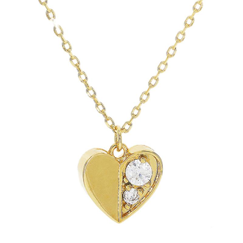 Colar coração com aplicações de zircônia cristal.