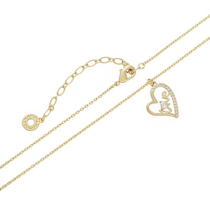 Colar coração geométrico vazado LOVE com aplicação de zircônia.