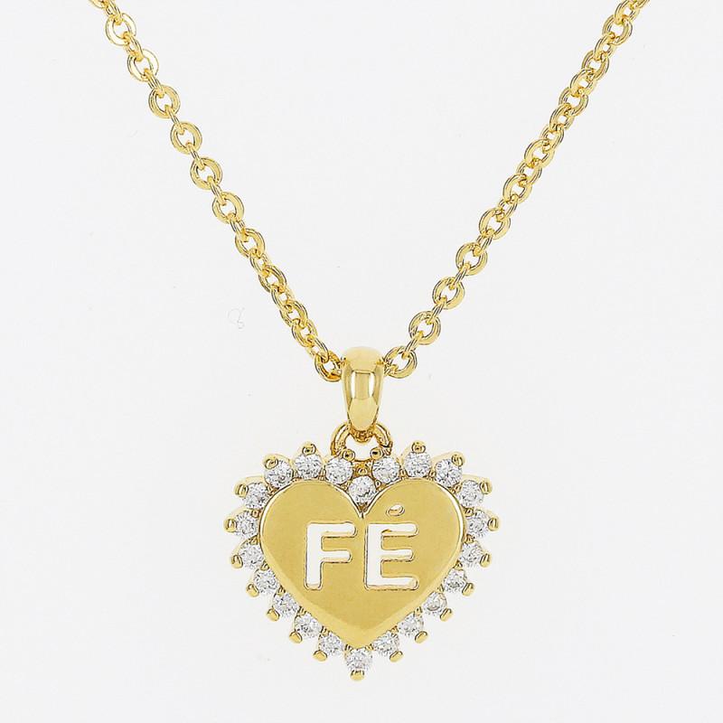 colar de coração liso com detalhe em zirconia escrito fé.