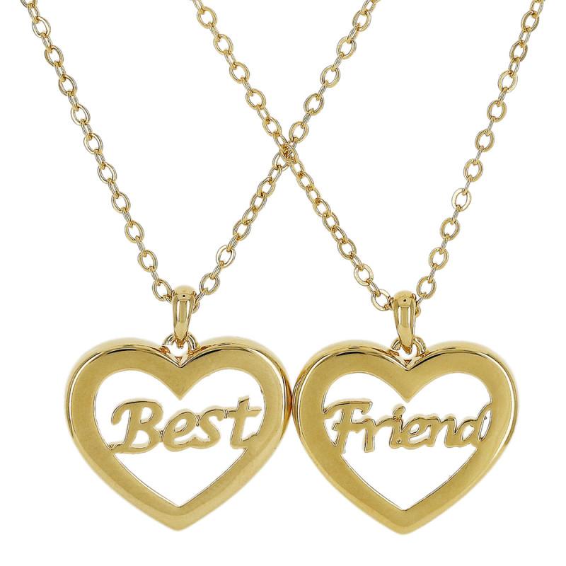 Colar duplo com pingente formato de coração vazado Best Friend.