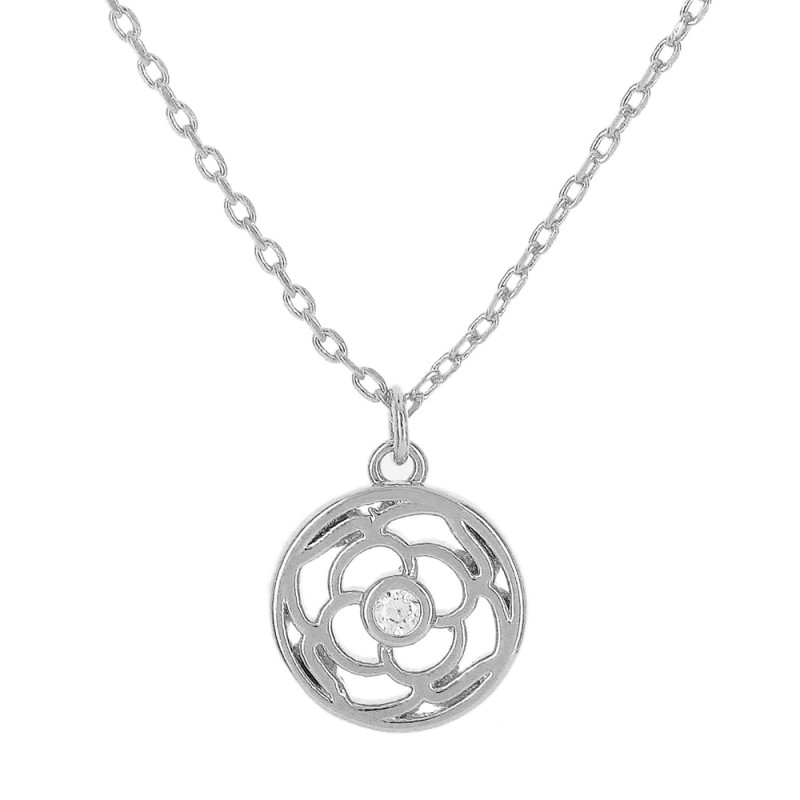 Colar fecho simples com extensor e pingente de flor  com uma pedra de zircônia cristal.