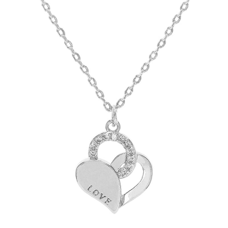 Colar LOVE em formato de coração vazado e aplicações de zircônia. Fecho simples elos trabalhados
