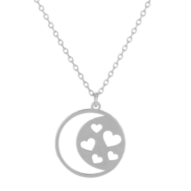 Colar pingente redondo com desenho vazado de lua e coração