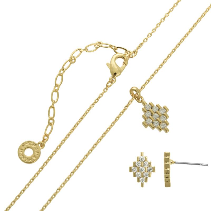 Conjunto colar e brinco formato losango com zircônias cristal