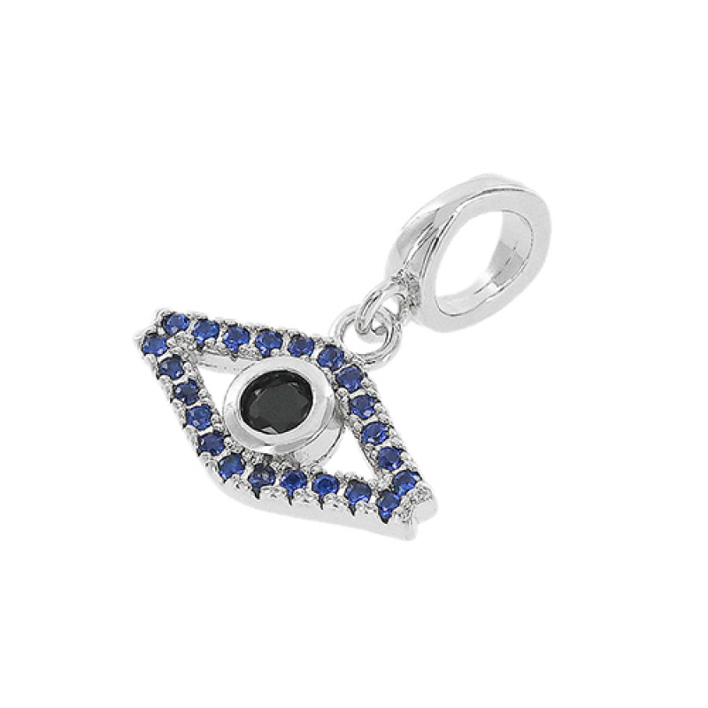 Pingente olho grego com zircônia safira e acrílico colorido